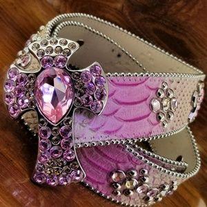 BB SIMON Pink Swarovski Crystal Studded Cross Belt